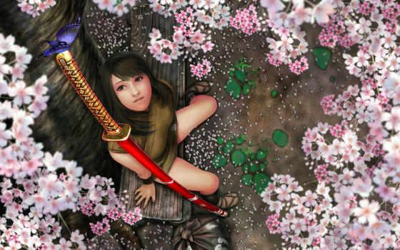 девушка, бабочка, китана, катана, цветы, меч, дерево,