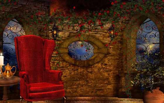 кресло, свеча, art