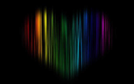 радуга, black, сердце
