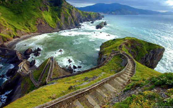 san, gaztelugatxe, juan, лестница, ступенек, испания, мост, бискайском, испании, состоит,
