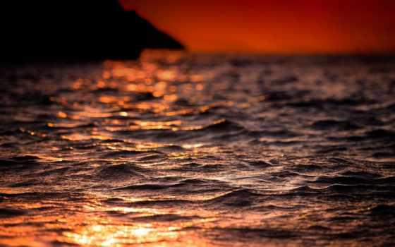 summer, вечер, море, свет, waves, тепло, sun, боке, играет,