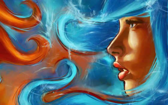 живопись, art, девушка, лицо, взгляд, profile, губы,