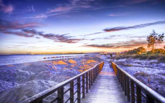 море, ocean, берег, мостики, пейзажи -, мосты, пляжи, морские, свет, мост, огни,