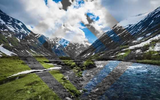 горы, река, природа, norwegian, холмы, заставки,
