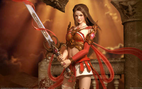 art, fantasy, women, armour, девушка, воин, брюнетки,