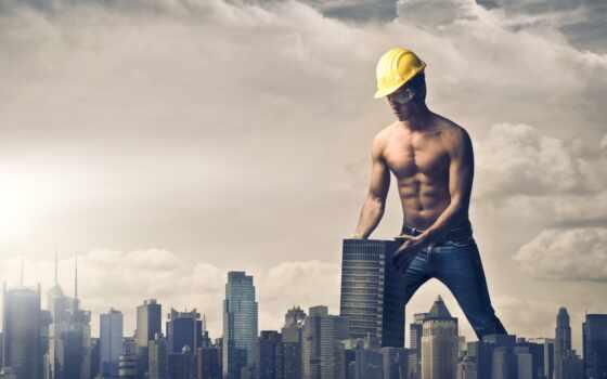 мужчина, гигант, креатив, очки, мужской, город,