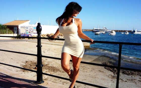 denise, milani, sexy, красивая, девушки, море, девушка, белое, улыбка, pose, платье, очки, ibiza,