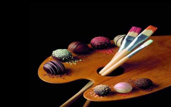 кисти, краски, чёрный, doska, конфеты, художество,