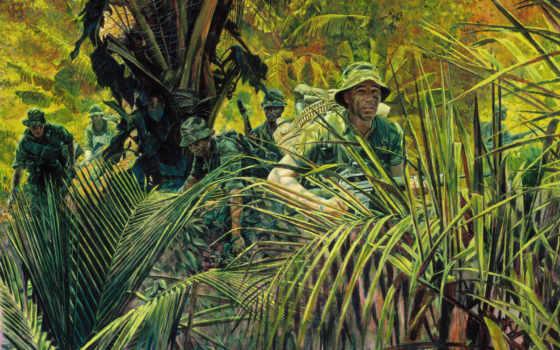 джунгли, risunok, вьетнам, soldaty, oruzhie, экипировка,