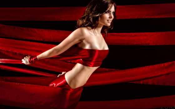 девушка, ленты, красных, лентах, red,