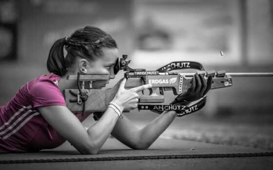 девушка, розовый, снайпер, боке, shooting, спорт, страница,