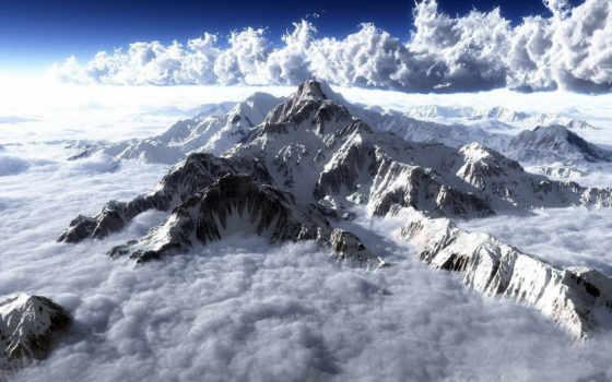 вершины, everest, горы, небо, снег, oblaka, земли, top, эвереста, cosmos, высочайшая,
