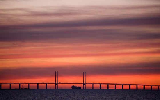 корабль, desktop, фон, закат, фото, мост, full, free,
