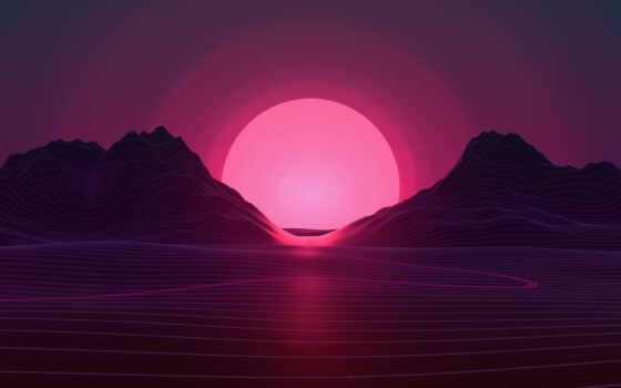art, закат, вектор, neon, розовый, mountains, графика,