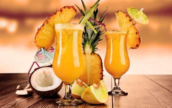 коктейль, трубочка, glass, плод, молочный, pineapple, напиток, кокосовый