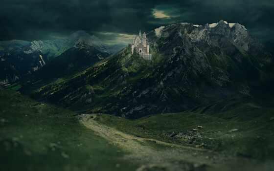 гора, castle, макро, фото, landscape