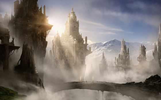 горы, город, башни, арт, замок, туман, мост, обои,