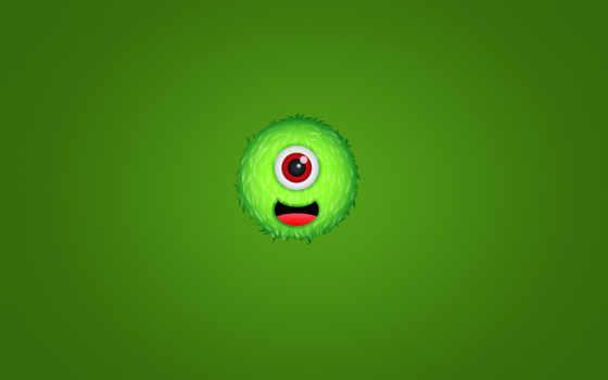 зелёный, мохнатый, чудик, монстр, одноглазый, улыбка,