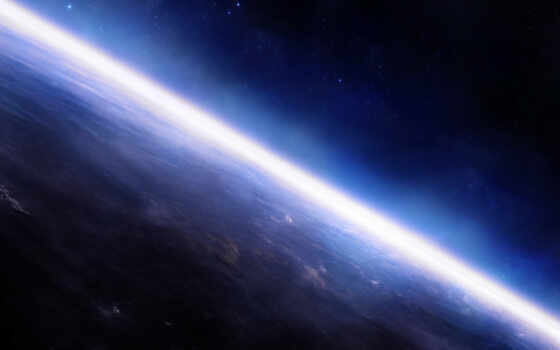 планета, звезды, поверхность, атмосфера, горизонт, картинка,
