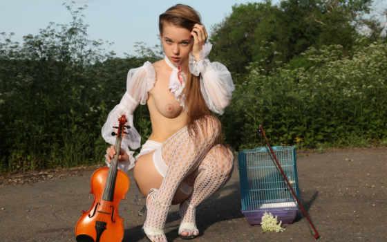 , секси, девушка, скрипка, эротика, грудь