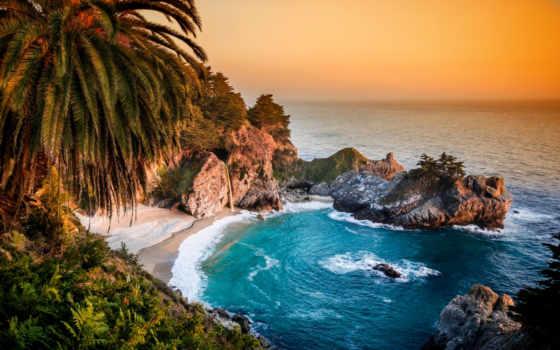 , залив, ocean, pacific, скалы, пальмы,