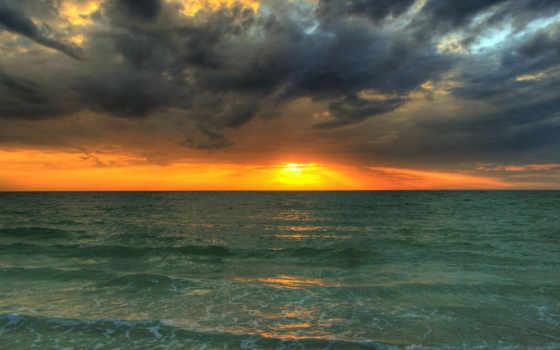 закат, море, ноутбук