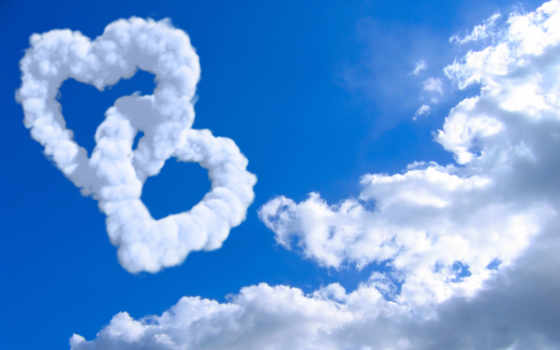 сердечки, oblaka, небо