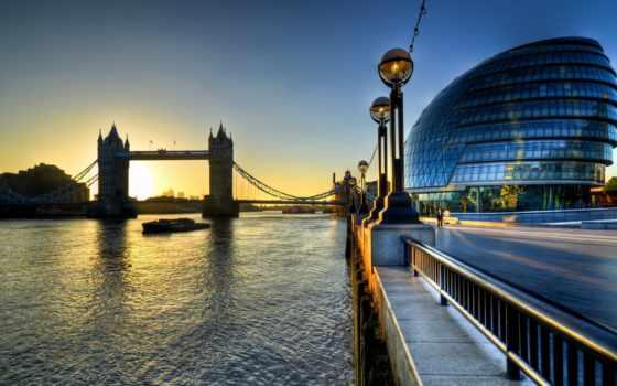 мост, башня, london, thames, великобритания, англия, река, город, hall,