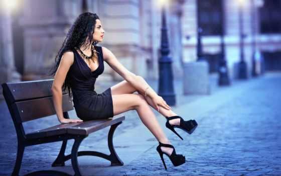 talons, jupe, hauts, belle, fille, courte, des, une, avec,