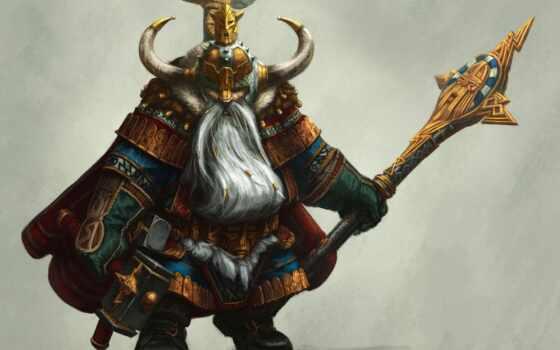 гном, art, хаммер, рога, борода, воин, посох, armour, шлем, fantasy,