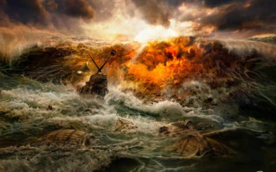 буря, кораблекрушение, море, кораблекрушений,