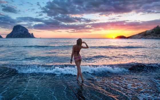 море, девушка, пляж