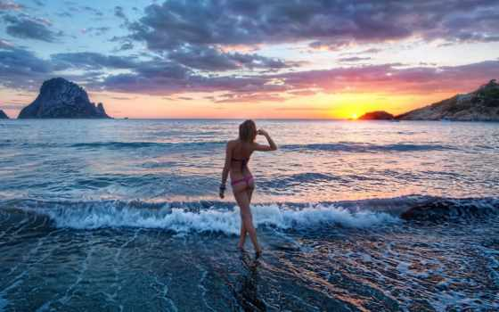 море, девушка, пляж Фон № 38833 разрешение 1920x1200