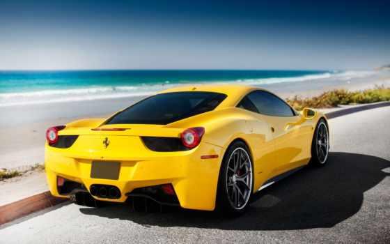 ferrari, желтая, italia