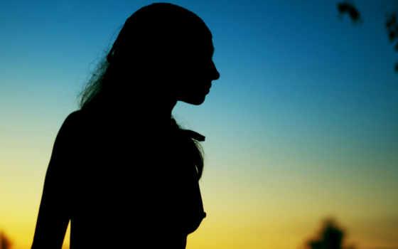 девушки, силуэт, shadow