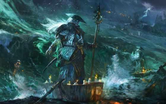 море, fantasy, буря