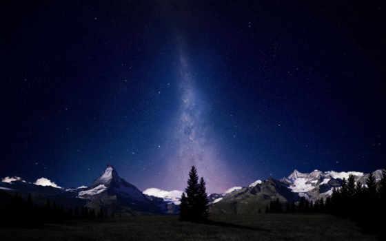ночь, stars, mountains