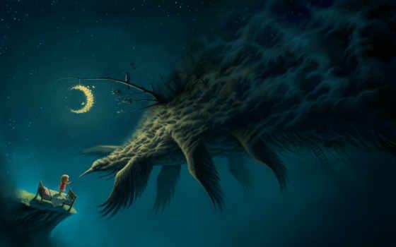 monster, art, девушка, кровать, птица, month, ночь, мотыльки,
