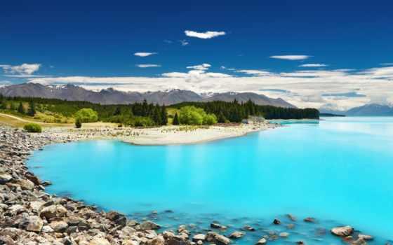 новая, zealand, озеро, горы, зеландии, новой, природа, pukaki, озера, голубое,