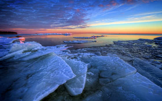 winter, zima, утро, morze, льдины, море, niebo, kry, słońca, zachód,