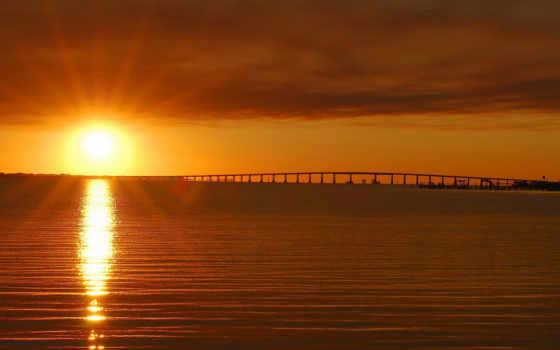 закат, солнца, sun, water, мост, рябь, фотографий, со, рассвет, вектор, снять,