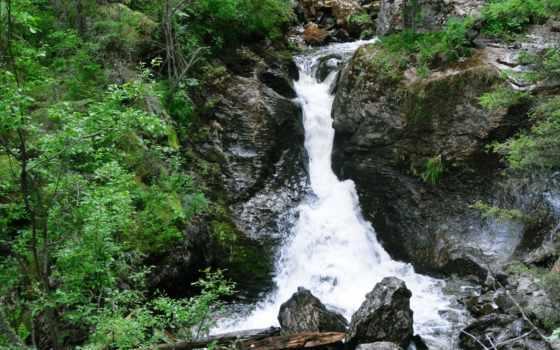 природа, водопад, камни