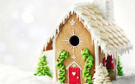 домик, печенье, рождество