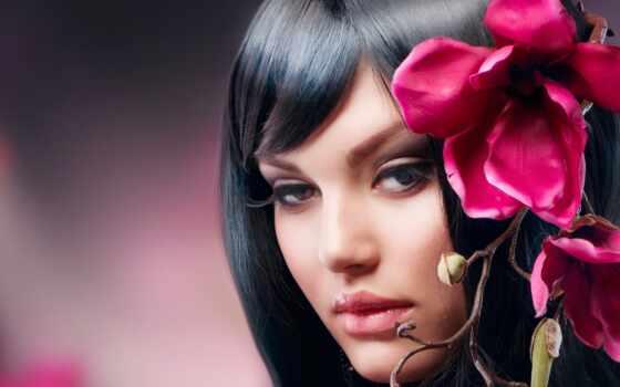 brunette, девушка, цветы, взгляд, ресницы, красивые, branch, пухлые, губки, заставки, кареглазая,