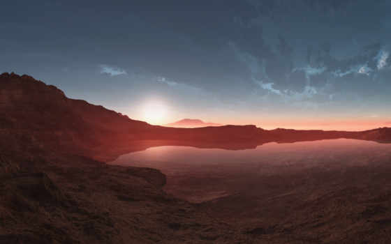 пустыня, закат, озеро, пейзажи -, картинка, пустыни, oblaka,