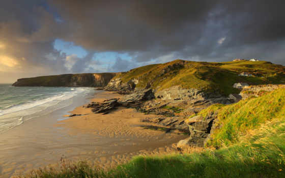 bretagne, fond, ecran, fonds, plage, angleterre, soleil, grande, paysage,