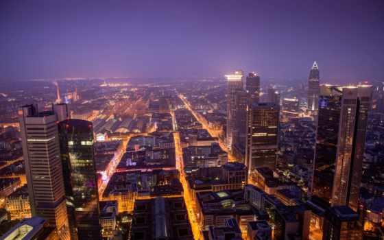 frankfurt, мэн, дома, german, вечер, огни, здания, город, панорама, взгляд,