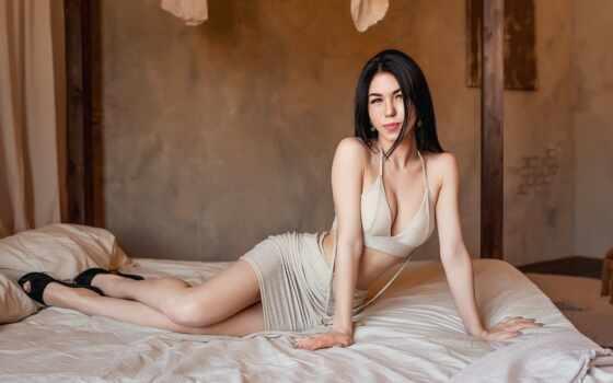 brunette, кровать, модель, женщина, поза, cleavage, quantity, каблук, джордж, dyak