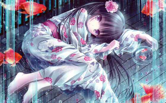 hair, tinkerbell, tinkle, loli, barefoot, japanese, anime, clothes, original, картинка, highres, absurdres, version, looking, larger, eyes, purple, black, viewer, girl, long, yukata, scan, flower, fis