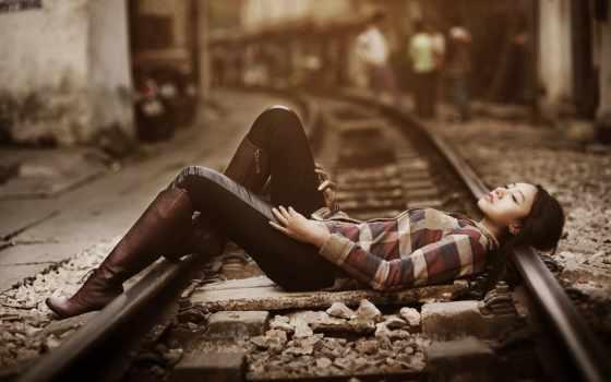 поезд, девушка, desktop